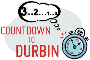 Logo for a blog series titled Countdown to Durbin