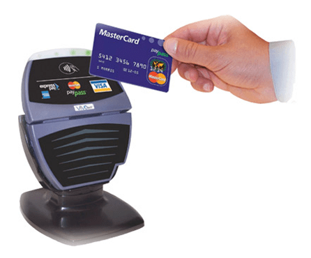Host Merchant Services image of a contactless terminal for EMV cards