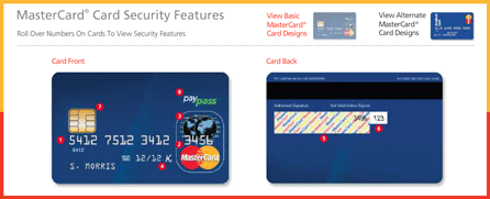 Host Merchant Services screenshot of MasterCard's anatomy of a credit card demo.