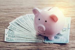 Finance Banking Saving Money Account Pink Piggy Bank On Pile 111529723