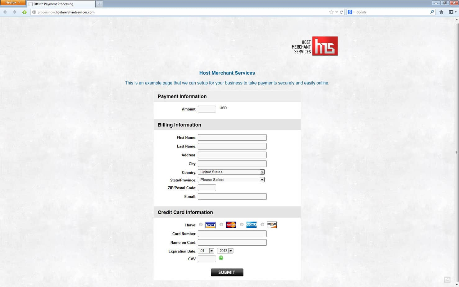 Offsite Payment Processing - Host Merchant Services