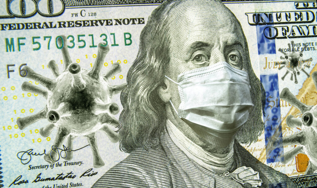 Covid 19 Business And Financial Crisis Concept Dollar Money Bill With Coronavirus Icons 3d Illustration Covid Impacts Global 180851930