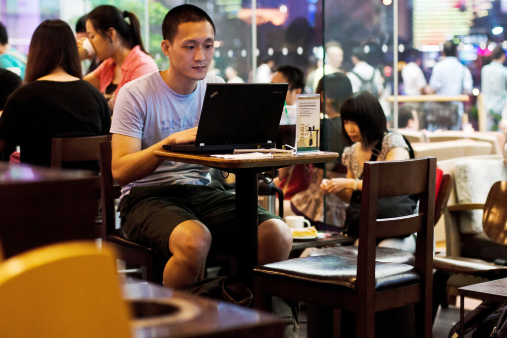 Boy Internet Starbucks Coffee 25182893