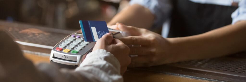 Customer Make Payment Use Contactless Credit Card Closeup View 186011301