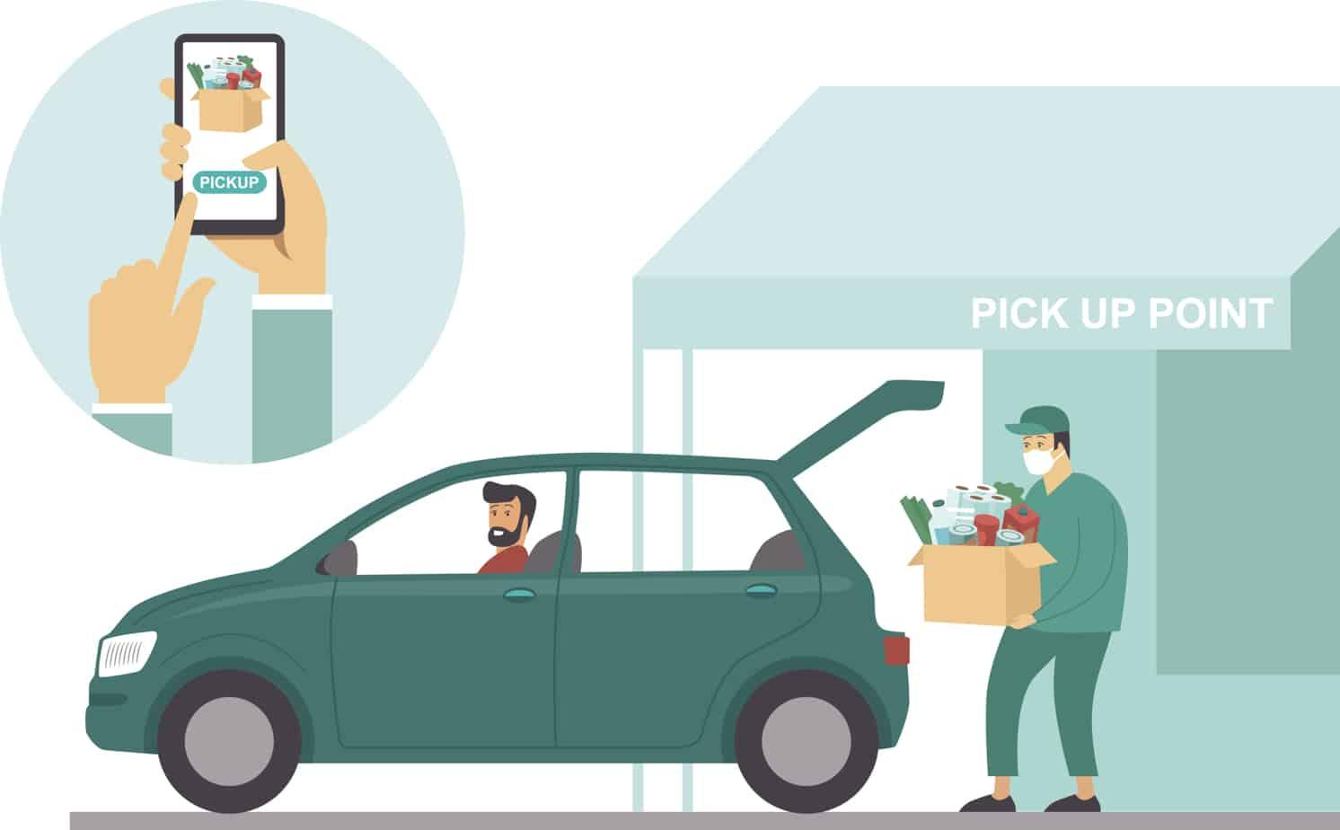 Pick Up Point In Food Supermarket Safe Shopping During Coronavirus Covid 19 Quarantine 179777094