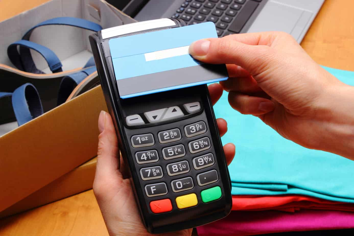 Use Payment Terminal And Credit Card With Nfc Technology For Paying For Purchases In Store 61496229