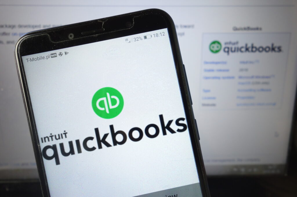 Konskie Poland August 18 2019 Intuit Quickbooks Logo On Mobile Phone 157499576 1
