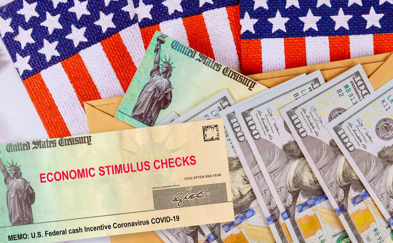 Stimulus Financial A Bill Individual Checks From Government Us 100 Dollar Bills Currency American Flag Global Pandemic Covid 19 178005180
