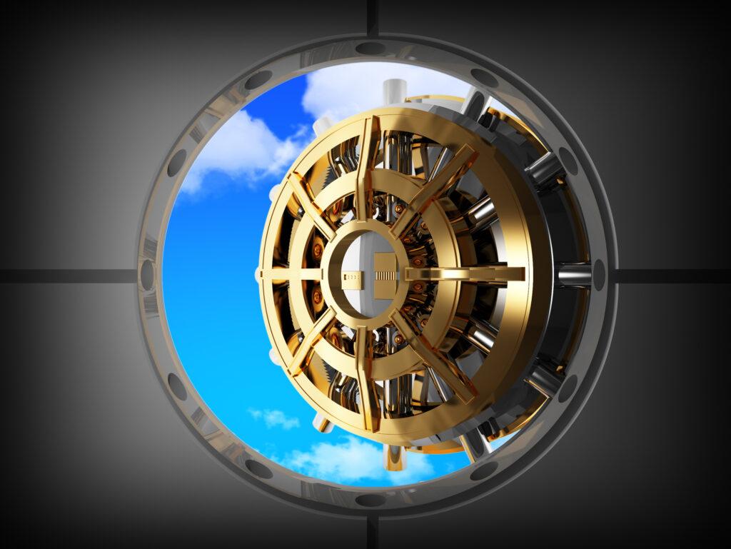 Vault Bank Door And Sky 14029088