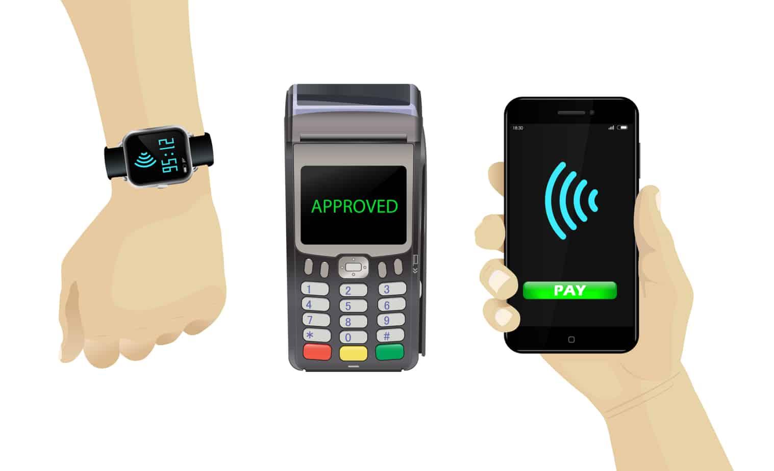 pos terminal smartphone smartwatch contactless payments set 103888539