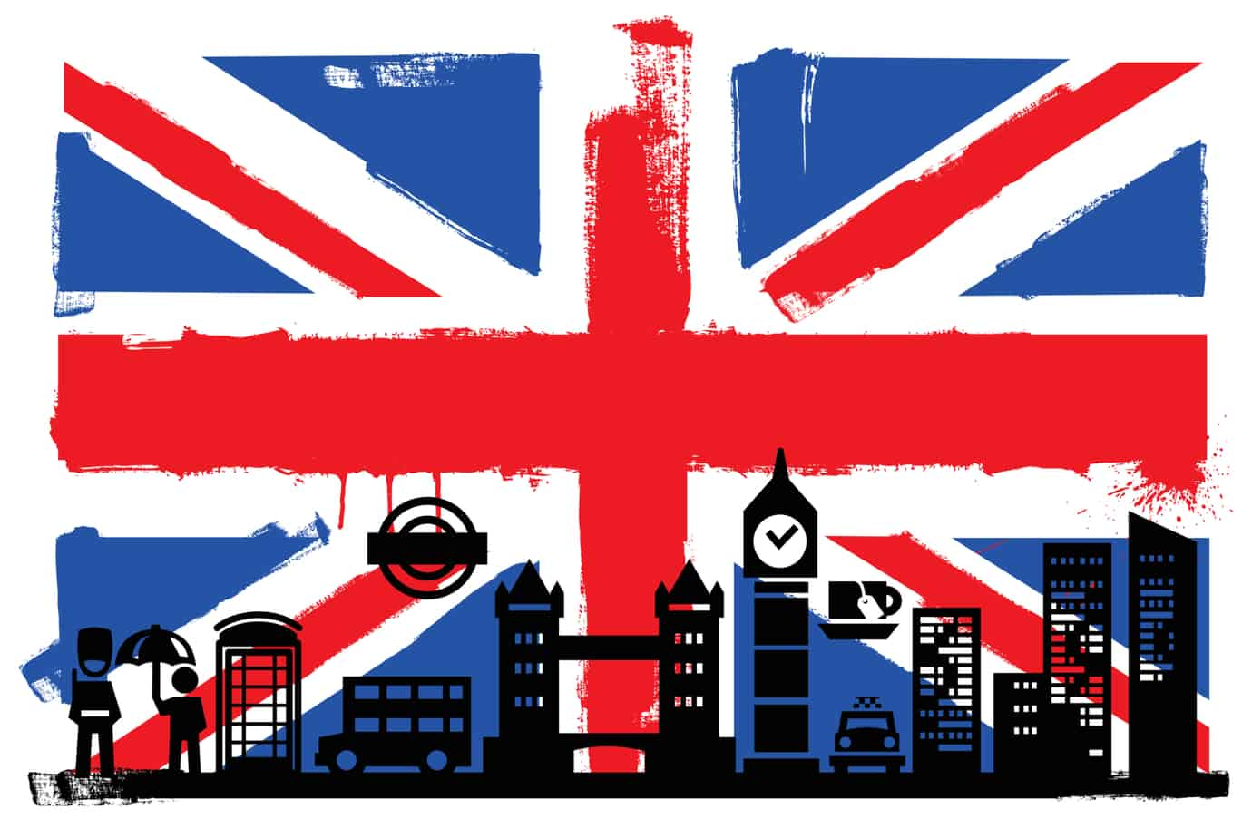 uk flag and silhouettes 28533392