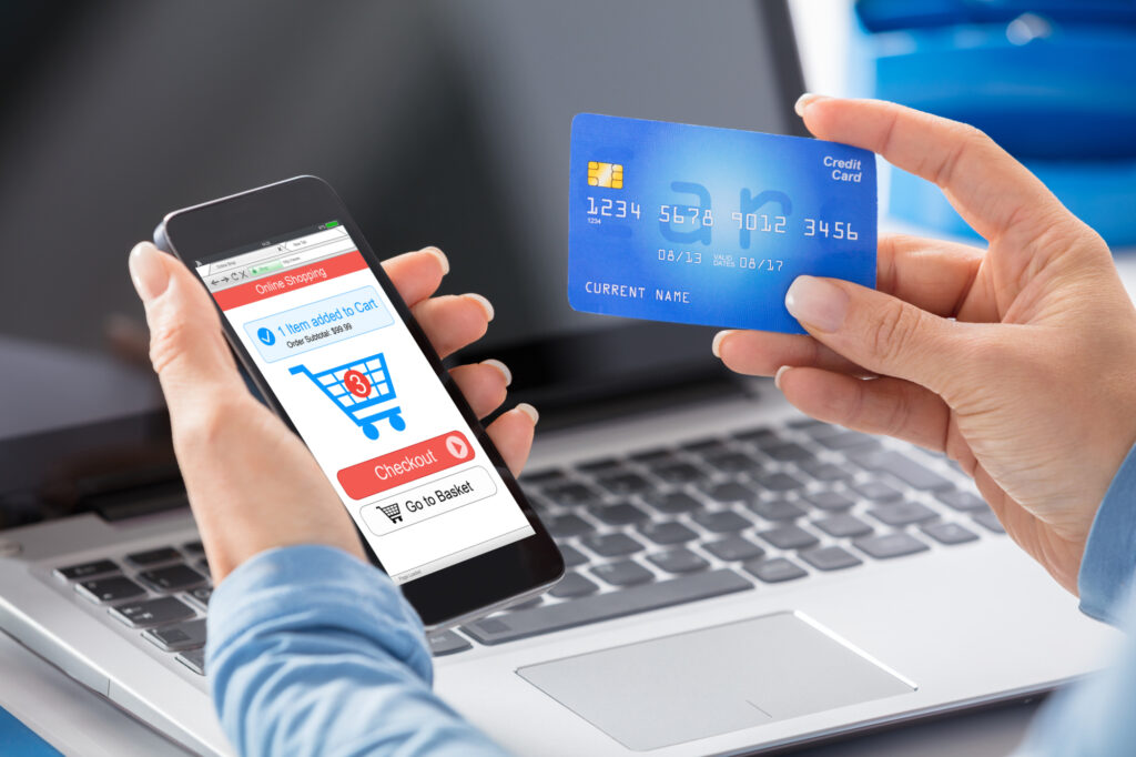 Woman Doing Online Shopping Using Credit Card 103311834