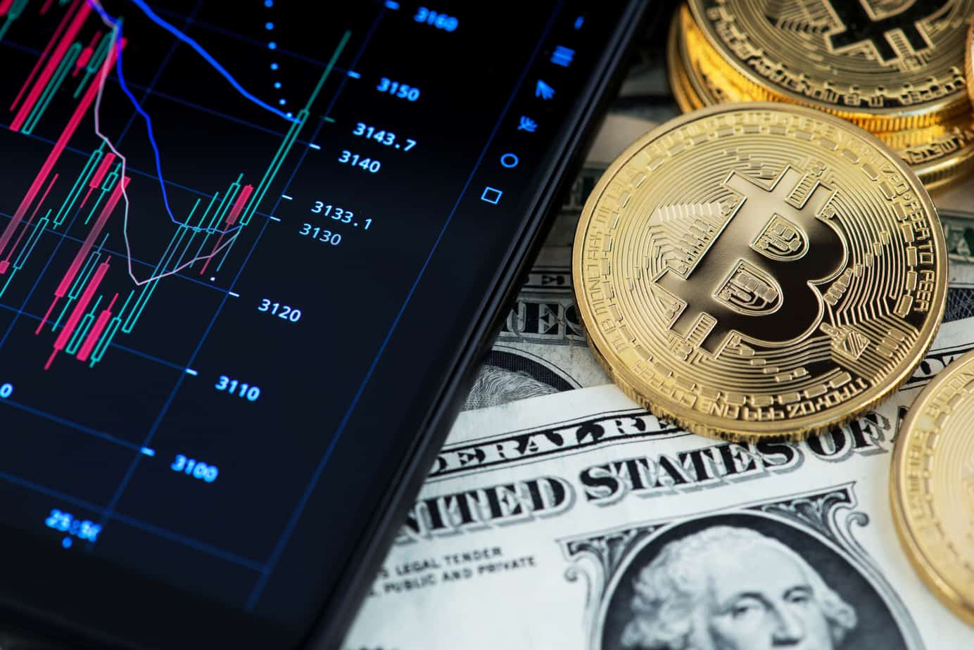 bitcoin cryptocurrency and banknotes of one us dollar next to mobile phone showing candlestick chart 142334515