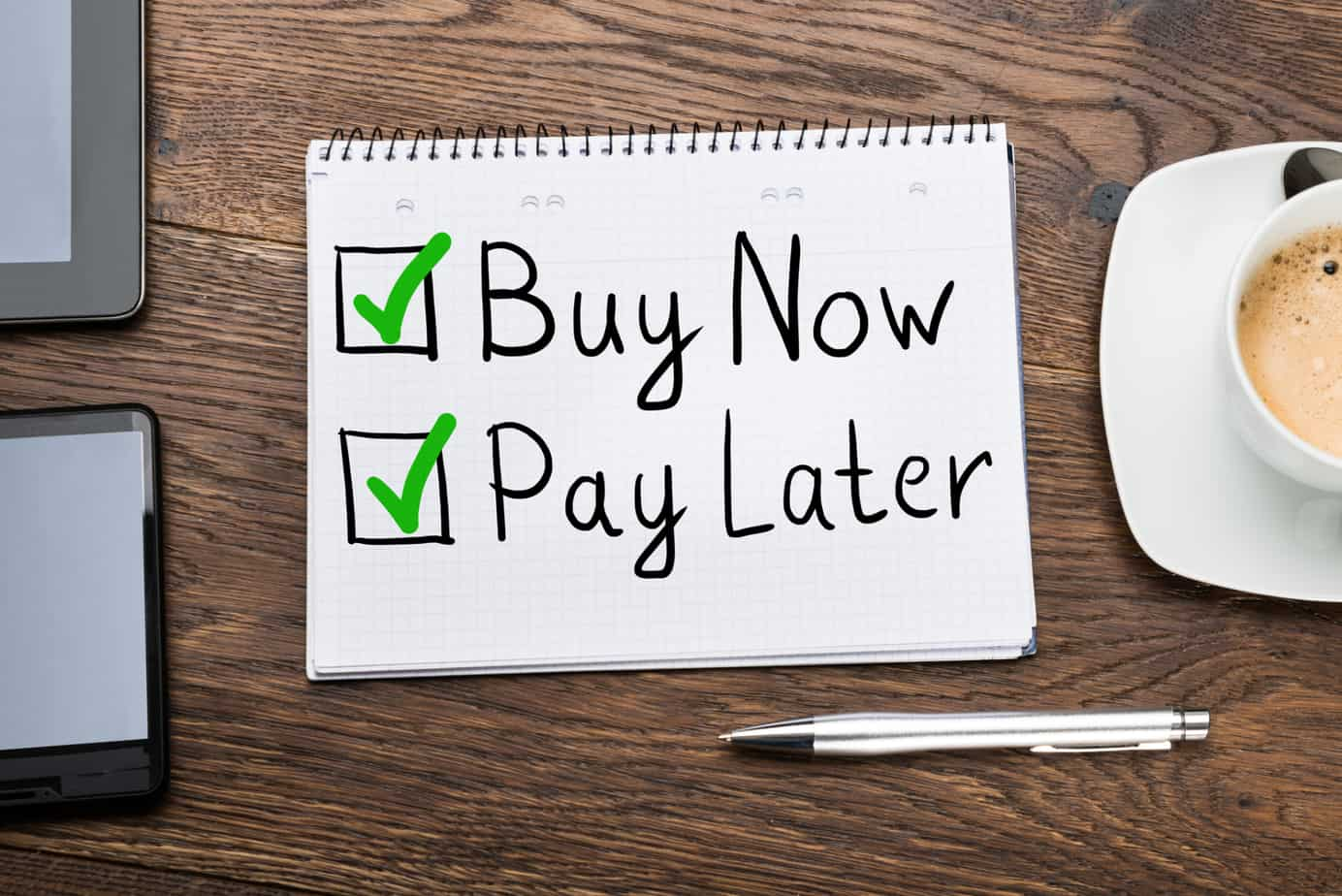 buy now pay later concept in notepad 214001642