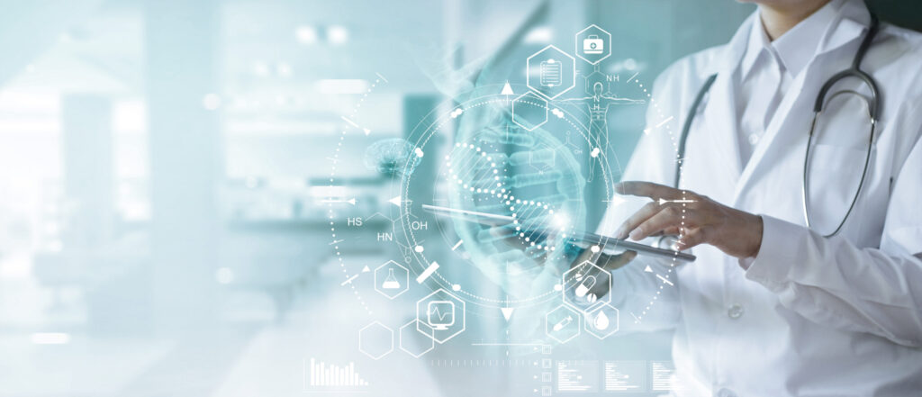 medicine doctor touching electronic medical record on tablet dna digital healthcare and network connection on hologram 154742526