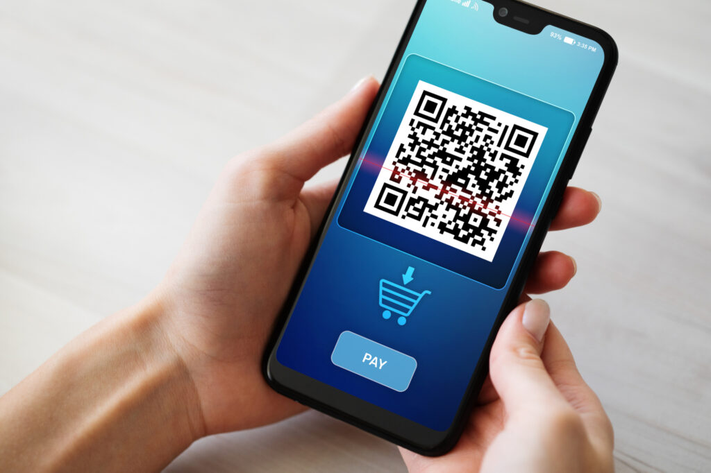 qr code mobile phone scan on screen business and technology concept 145543233