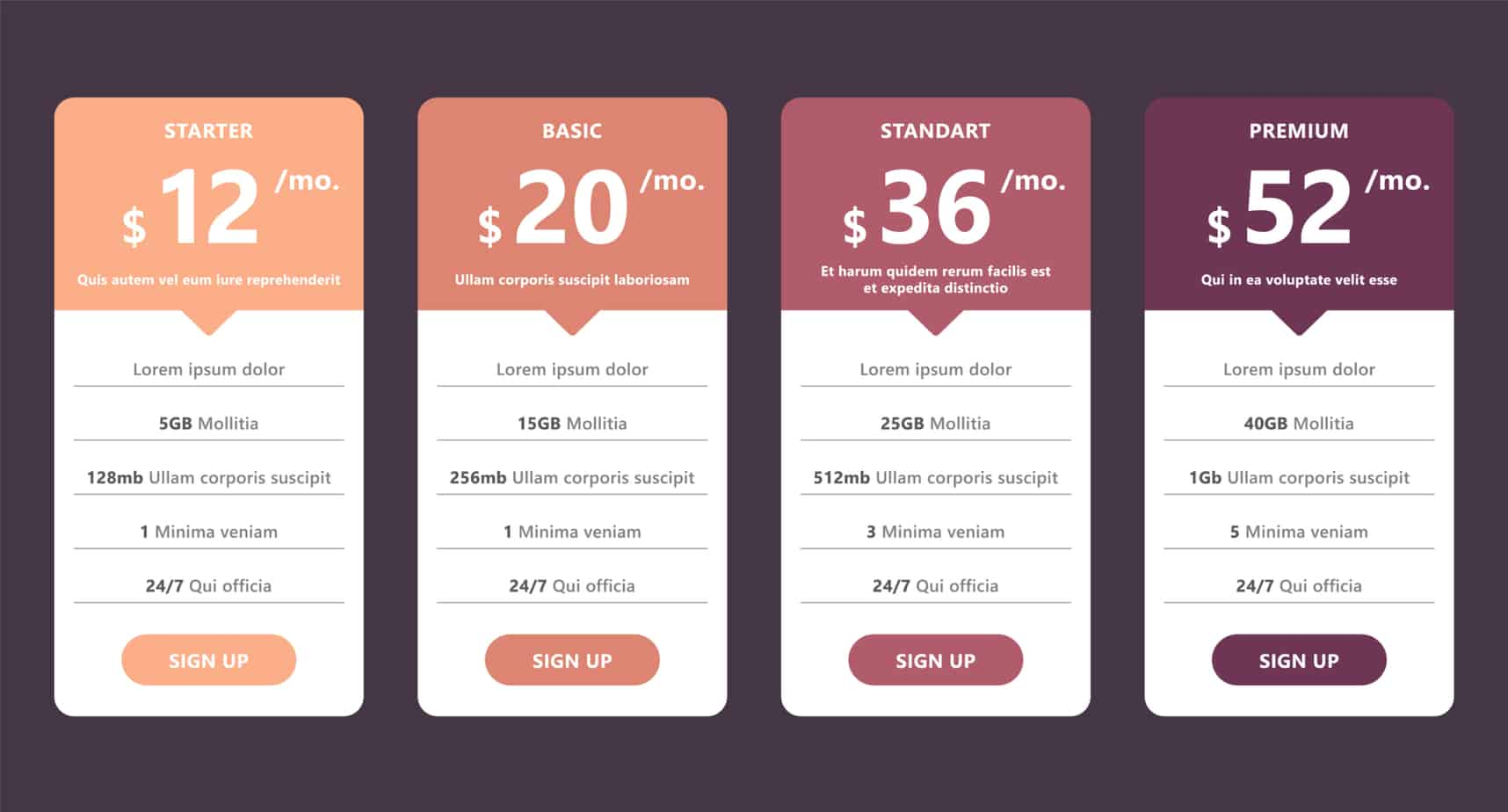 pricing table template for web design and business 95485487