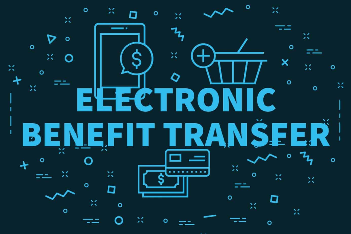 conceptual business illustration with the words electronic benefit transfer 111905607