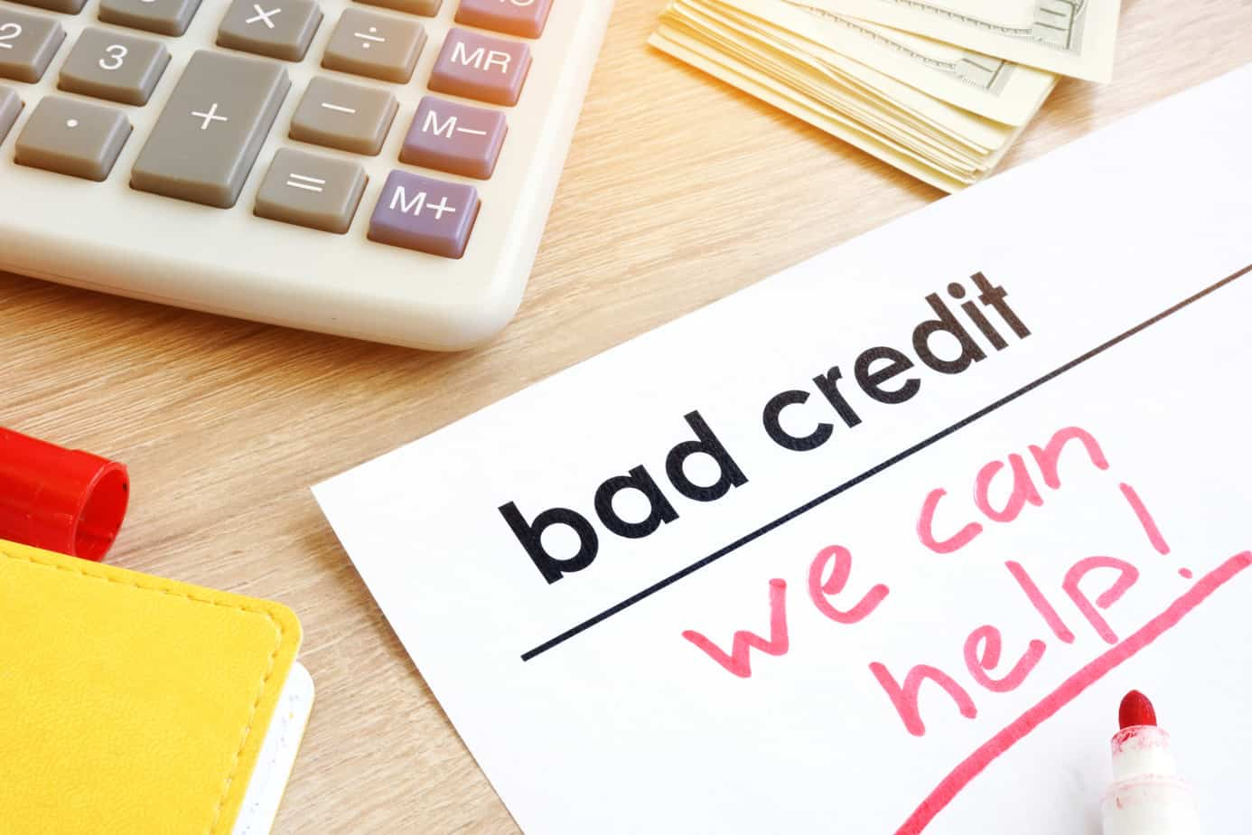 document bad credit with sign we can help 116600525