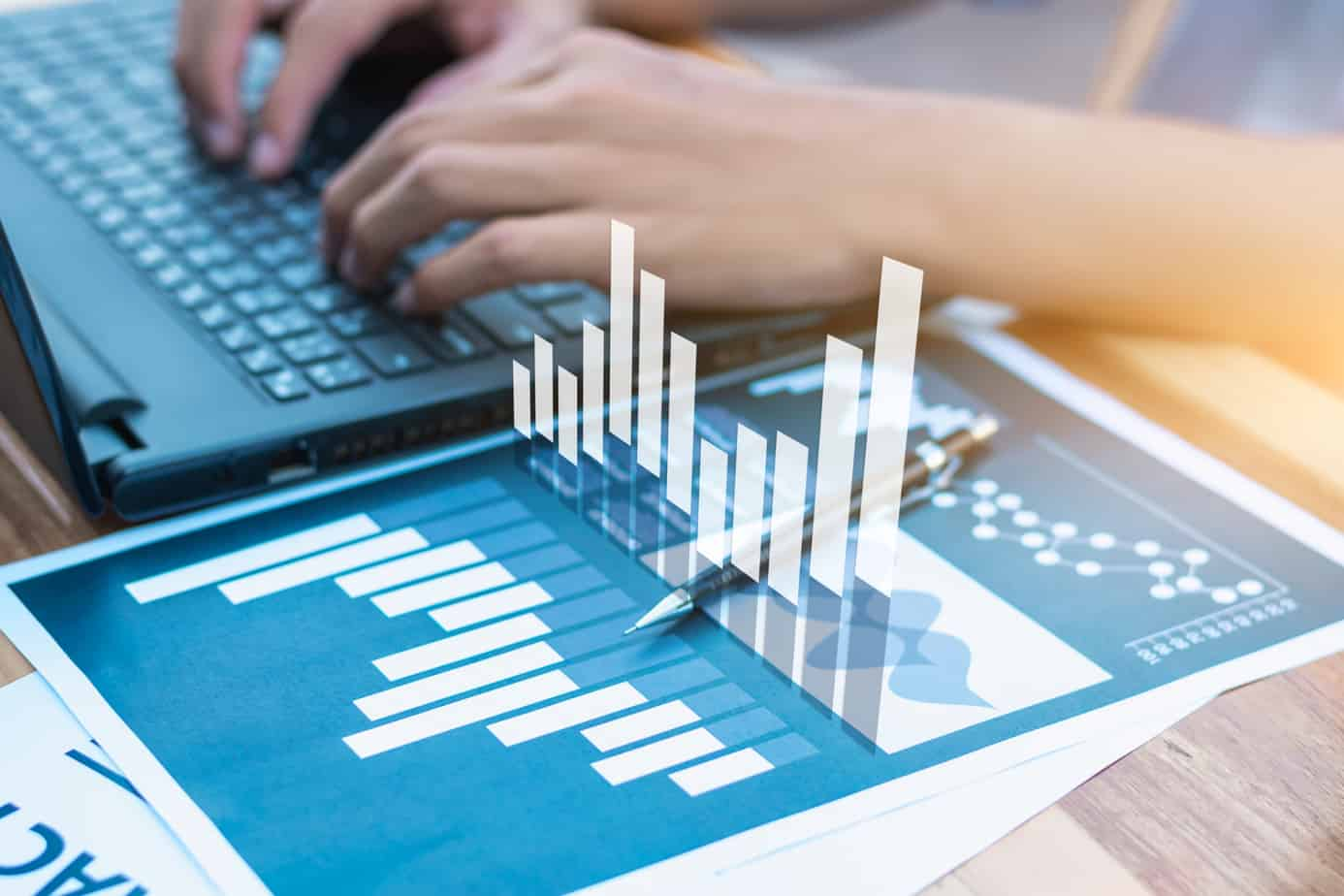 business statistics success concept businessman analytics financial chart and graph 88207955