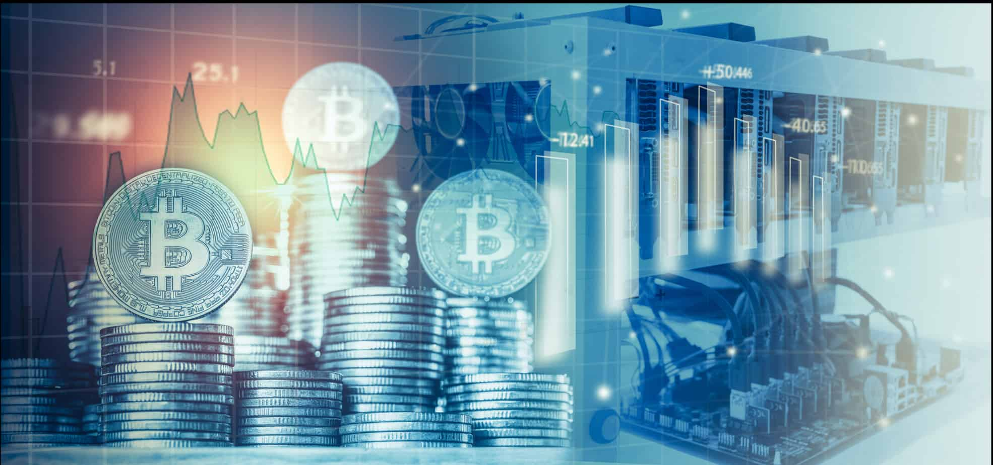 computer for bitcoin mining and bitcoin coin on a stock market charts 101144504
