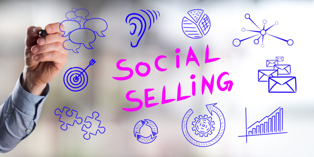 social selling concept drawn by a man 115748588