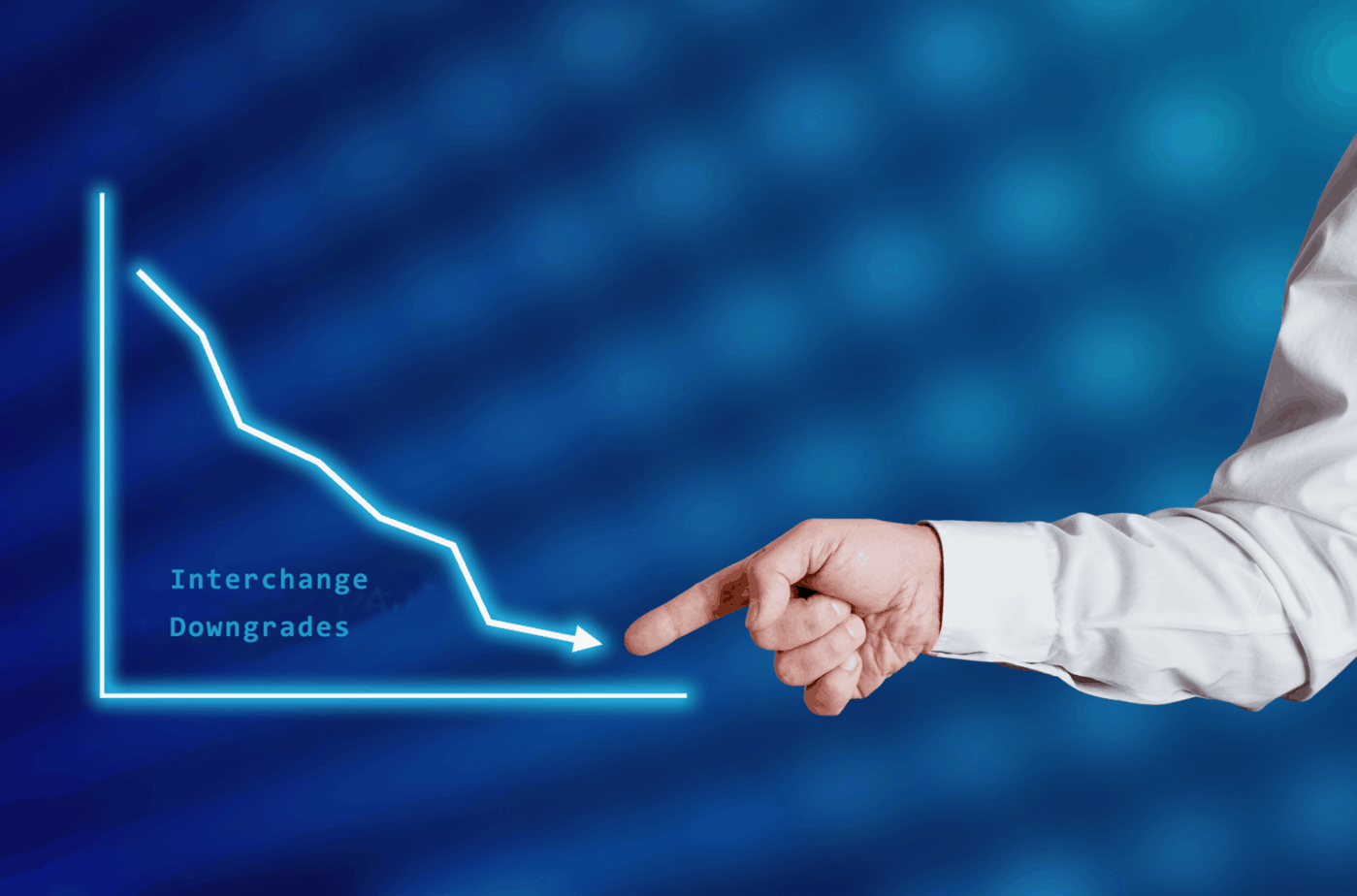 businessman hand points to the word interest rate with a decreasing chart or graph 213338059