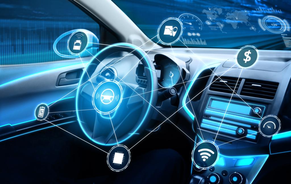 driverless car interior with futuristic dashboard for autonomous control system 192397485